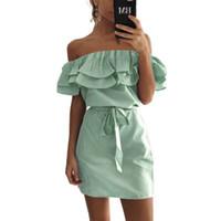 gestreifte kleidfarbe großhandel-3 farbe Sommer Mode frauen Neue Gestreifte Kleider Sexy Rüschen Kleid Casual Style Komfortable Pretty Canonicals mit gürtel