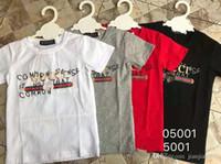 modelo de chicos cortos al por mayor-modelos de ropa para niños boy cuello redondo carta de manga corta camiseta de algodón de gama alta impresión de letras de verano 05001 #