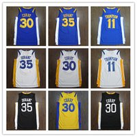 curry amarillo negro al por mayor-De calidad superior # 35 Kevin Durant Jersey curry 30 Jerseys Retro para hombre cosido púrpura negro blanco azul amarillo camisas envío gratis