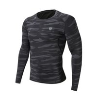 clothing camouflage shirts оптовых-2018 Men Sport Running T Shirt Camouflage Long Fitness T-shirt Green Gray Quick-Drying Clothes Tight T-shirt FN30C