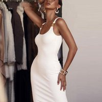 vestido longo elegante do escritório venda por atacado-Glamaker Malha sexy bodycon preto vestido de Mulheres vestido branco longo verão clube do partido causal escritório elegante vestido vermelho 2019