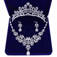 Nobile cristallo girasoli set di gioielli da sposa argento strass choker  collana orecchini diademi corone donne gioielli da sposa insieme cf3631058ba4