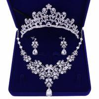 collar de aretes de boda conjunto al por mayor-Noble Cristal Girasoles Conjuntos de Joyas de Novia de Plata Rhinestone Gargantilla Collar Pendientes Tiaras Coronas Mujeres Joyería de Boda Set