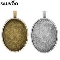 Wholesale bronze alloy base setting pendant resale online - x40mm Inner Size Antique Bronze Alloy Oval Cabochon Base Setting Pendant Tray For DIY Jewelry Making Accessories
