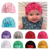 neugeborenes mädchen hüte blumen großhandel-Neugeborenes Baby-Hüte Blumen-Bindung Sicherungskappen für Mädchen Indien Kappen Boy Herbst-Winter-Caps 4M-6T 07
