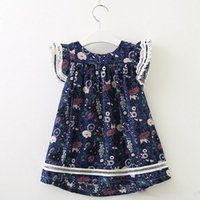 sehr gute kleider großhandel-Baby-Blumenfliegenhülse kleidet Kindbaumwollblumenrockkindsommerboutiquekleidung sehr gute Qualität