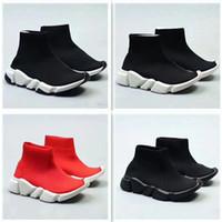 botines para niños al por mayor-2018 zapatos corrientes de los niños de moda las botas del tobillo velocidad tramo de malla de alta velocidad entrenador superior de punto del calcetín del Medio Top Trainer las zapatillas de deporte