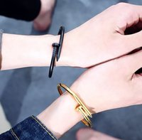 Wholesale trend nails online - Hot Fashion Male Korean Fashion Trend Exo Titanium Steel Stainless Steel Nail Open Couple Bracelet Ring Valentine Day gift Lovers Bracelet