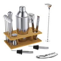 barkeeper-set großhandel-Party Bar Professionelle Bartender Kit Mixer 750 ml Shaker Bar Set Premium Barware Werkzeug mit Holzrahmen Perfekte Getränkemischung 14 Teile / satz