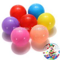 renkli okyanus topu toptan satış-Toptan Satış - Toptan-200pcs / lot Renkli Dayanıklı Fun Ball Yumuşak Plastik Su Havuzu Ocean Ball Bebek Çocuk Oyuncakları Pit Ücretsiz Gönder