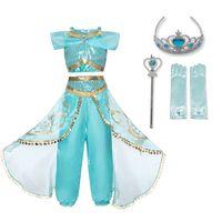 giyinen kızlar toptan satış-Yaz Kız Elbise Arap Prenses Yasemin giyinmek Kostüm Çocuk Kolsuz Pullu Cosplay Fantezi Elbise Çocuk Parti Fantezi