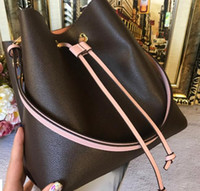 Wholesale leather drawstring bucket crossbody handbag resale online - 2019 Fashion genuine leather bucket bag women famous designer Drawstring handbags flower printing crossbody purse