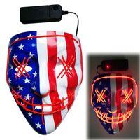 bandeiras do fulgor venda por atacado-Bandeira americana Máscara Halloween Liderados máscara máscaras partido masque masquerade Neon Light brilham no escuro V Horror Fluorescência de incandescência Purge Eleição