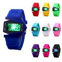 relogios multi-cores unisex venda por atacado-Relógio De Moda Unisex Relógio Eletrônico Personalidade Multi-funcional LED Cor Sólida Silicone Banda Relógio De Pulso