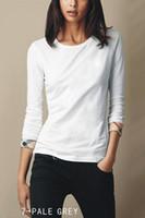 uzun gömlekli gömlekler toptan satış-Bayan 2019 Lüks Giysi Tasarımcısı Saf Renk Manşet Ekose Sınır Tasarım Marka Bayan Tasarımcı T Shirt Uzun Kollu Scoop Boyun