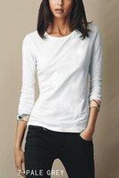 hemd plaid manschetten groihandel-Womens 2019 Luxus Designer Kleidung reine Farbe Manschette Plaid Grenze Design Marke Womens Designer T Shirts mit langen Ärmeln Scoop Neck