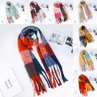estilo bufanda de las niñas al por mayor-2019 nuevo otoño invierno para el cuello de las mujeres de la tela escocesa de la bufanda de la cachemira de imitación de la borla de la bufanda los 50 * 210cm de chicas bufandas 11 estilos M803F