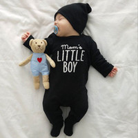 Wholesale autumn winter baby clothing online - New Fashion Infant Toddler Baby Boys Romper Long Sleeve Letter Boy Girl Outfits Black Children Clothing