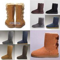 Wholesale long pink boots resale online - 2020 Fashion Men Women Classic Snow Boots Long Ankle Short Bow Fur Designer Boots For Winter Black Chestnut Boot Casual Platform Shoes