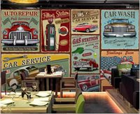 Wholesale custom car painting resale online - WDBH d wallpaper custom mural Retro nostalgic hand painted European classic car bar Home decor living room wallpaper for walls d