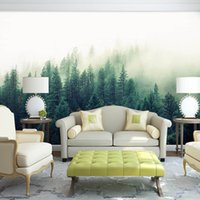 fondos de pantalla naturaleza pegatina al por mayor-5D Papel Murales Naturaleza Niebla Árboles Bosque Papel tapiz Mural de pared 3D Papel de pared para el fondo del dormitorio 3D Bosque pegatinas