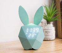 кроличьи часы оптовых-Кролик будильник светодиодный звук ночник перезаряжаемые настенные часы милый кролик форма цифровой будильник для дома Decoratio