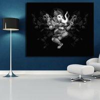 schlafzimmer malerei porträts großhandel-Lord Ganesha Porträt Kunst Leinwand Poster Malerei Wandbild Drucken Home Schlafzimmer Für Wohnzimmer Dekoration