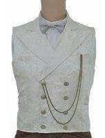ремень для стимпанк оптовых-Винтаж стимпанк жилет белый мужской двубортный карманные часы цепь назад ремень ретро костюм жилет Хэллоуин