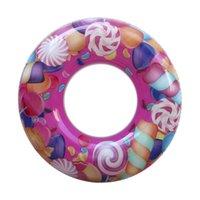 aufblasbare clowns großhandel-2019 kinder Cartoon Schwimmen Kreis Clown Fisch Lutscher Aufblasbare Float Ring Sicher Starke Schwimmen Ring Pool Spielzeug