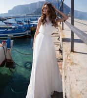 Wholesale gown brooch design resale online - New Design Simple Long Wedding Dress Jewel Neck Lace Up Back A Line Sweep Train Appliques Chiffon Bride Gowns Vestido de noiva longo