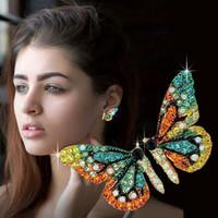 diamante brincos jóias venda por atacado-Designer de luxo brincos de asa de borboleta brincos Stud mulheres moda brincos de diamante meninas roupas acessórios de jóias para mulher 2019