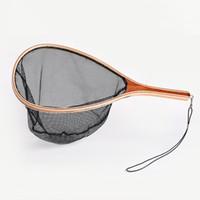 nylon fischen seil großhandel-Fliegenfischen Forellen Kescher Set Monofil Nylon / Soft Rubber Fishing Network mit Lanyard Rope