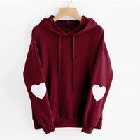 dropped hoodie toptan satış-Kadın Moda Kazak Bayan Uzun Kollu Kalp Hoodie Kazak Jumper Kapşonlu Kazak dropshipping Ücretsiz Nakliye Tops