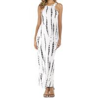 красное белое полосатое платье макси оптовых-Летнее платье с вырезом из красного белого длинного платья без рукавов в полоску с принтом платья макси Летние платья знаменитостей Beach Party Club J3207
