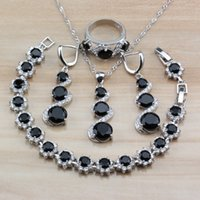Wholesale long silver costume jewelry for sale - Group buy New Exclusive Jewelry Sets Silver Women Costume Black Zircon White Crystal Long Dangle Earrings Necklace Sets