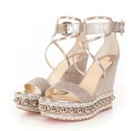 rote gladiator sandalen fersen großhandel-Perfekte Damen Rote Untere Schuhe Für Frauen Colombe Glitter Diams Chocazeppa High Heels Frauen Gladiator Sandalen Party Hochzeitskleid