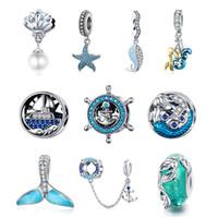 encantos de plata pura 925 al por mayor-Plata esterlina 925 original de la serie del océano encanto Ale perlas sueltas perlas de plata pura moda americana europea DIY accesorios de joyería pulsera