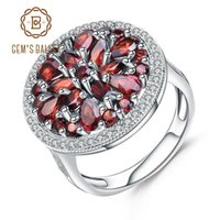 Wholesale jewelry for cocktail for sale - Group buy Gem s Ballet ct Round Natural Red Garnet Gemstone Ring Sterling Silver Vintage Cocktail Rings For Women Fine Jewelry J
