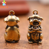 Wholesale pig carving for sale - Group buy 2x Solid Brass Happy PIG Vintage Carving Handmade Keyring Car Accessory DIY Jelwery Pendant Gift Finding