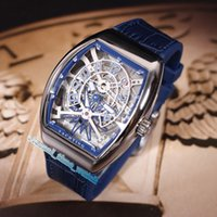 Wholesale best luxury skeleton watches resale online - Best Version V45 T GR YACHT SQT Silver Bezel Blue Skeleton Dial Automatic Mechanical Mens Watch Blue Leather Strap Men s Sports Watches