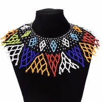 akrilik kolye çok renkli toptan satış-Mısır Etnik Boncuk Önlüğü Yaka Boyun Afrika Renkli Püskül Uzun Gerdanlık Kolye Bildirimi Kadınlar Akrilik Maxi Takı Tribal