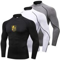 langarmshirt turtleneck herren großhandel-Hot Vegas Golden Knights Running Shirt Männer Langarm Fitness Sportbekleidung Rollkragen Sport Shirt Kompression Gym Rashgard