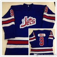 hokey formaları bobby gövde toptan satış-Vintage Winnipeg Jets 9. Bobby Hull WHA 1972-1973 Hokeyi Jersey Nakış Dikişli özelleştirme herhangi numarası ve adı Koleji Jersey