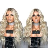 ingrosso capelli africa-Nuova parrucca bionda sexy africana del platino dell'azzurro 180% di densità parrucche anteriori del merletto sintetiche ondulate lunghe di Glueless con i capelli della fibra dei capelli del bambino per le donne