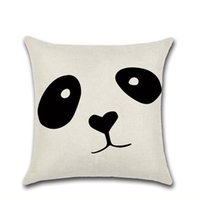 Wholesale panda pillow case resale online - Pillow Covers Panda Printed Throw Pillow Case Geometry Pattern Cushion Covers Home Decorative Pillowcase Black and White Styles LQPYW1114
