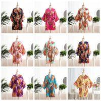 ingrosso pigiama di seta kimono-estate pigiama in raso di seta donne pigiameria v-collo lingerie pigiami moda maternità pigiama Peony homewear Peacock Kimono