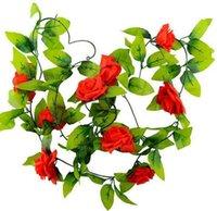 ingrosso rose di fiori di nozze artificiali di seta-240cm Rose di seta finte Ivy Vine Fiori artificiali con foglie verdi per la decorazione domestica di nozze Hanging Garland Decor EEA132