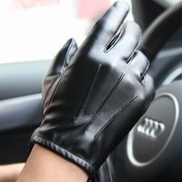 Wholesale bamboo tactical for sale - Group buy Driving Hot Men s Luxurious PU Leather Winter Autumn Driving Keep Warm Gloves Cashmere Tactical gloves Black Outdoor Sports