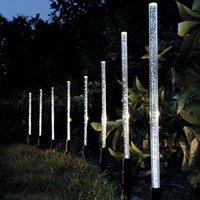 ingrosso luci solari acriliche-Lampade a tubo a energia solare Lampade Acrilico Bubble Pathway Prato Landscape Decoration Garden Stick Stake Light Set lampada