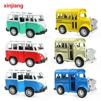 Wholesale toy buses models for sale - Group buy Mini Vintage Diecast Car School Bus Alloy Car Model Sliding Bus Toys Vehicles For Boys Flashing Music Car Toys For Kids